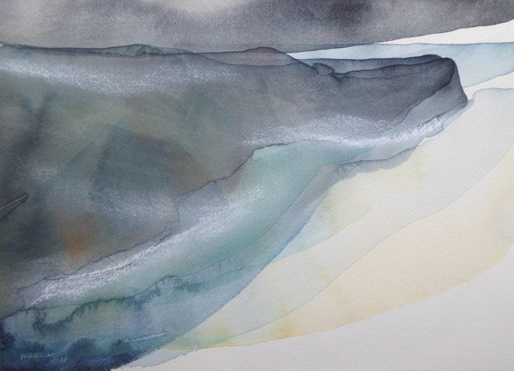 Peter Davis. Uyea, Watercolour and rubbing of chalk on paper 2018, (35x24cm)