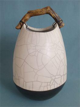 Anne Morrison. Raku pot with driftwood 1