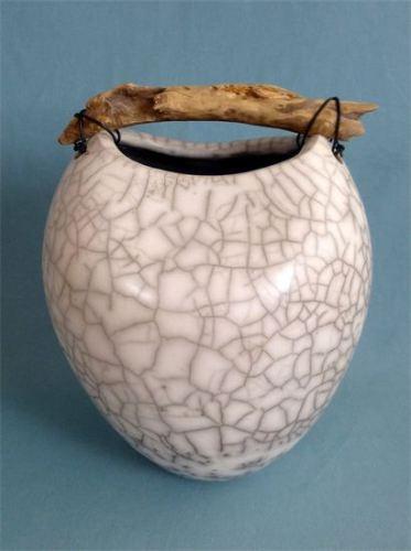 Anne Morrison. Raku pot with driftwood 2
