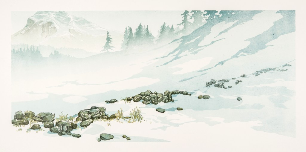 Laura Boswell. Dry stone wall (linocut, 760 x 300)