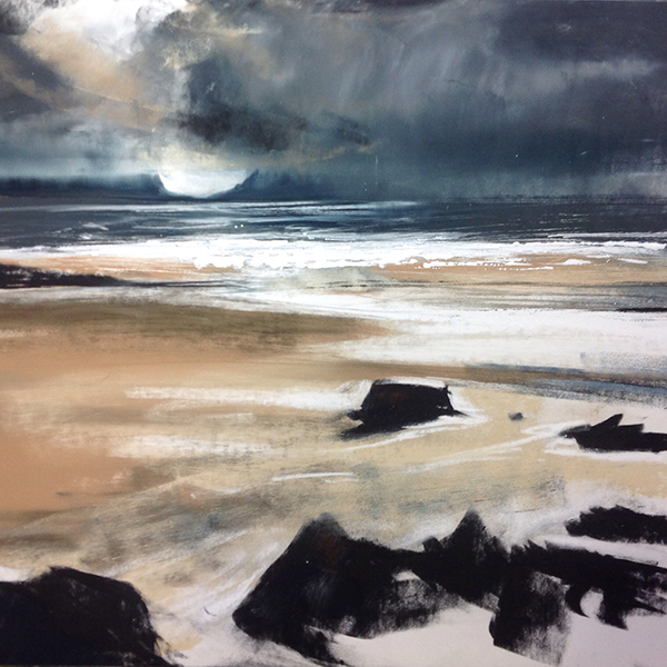 Helen Fryer. Rain Threatens. (Camusdarach )49x50.