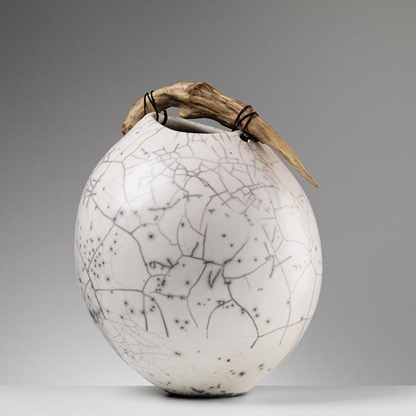 Anne Morrison. Oval handbuilt crackle pot