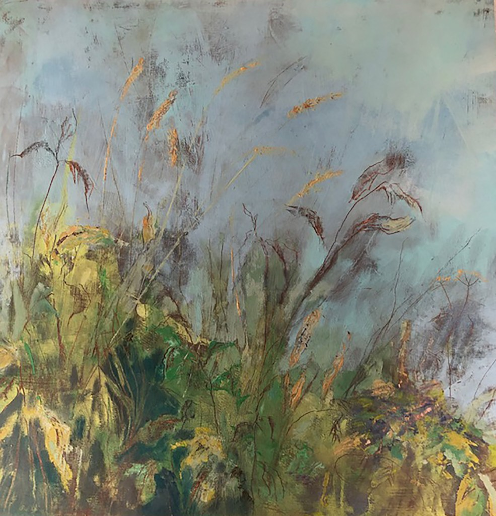 Penny Hunt. Verges 5 54x54cm oil on board framed