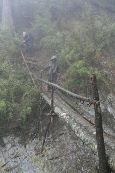 One of the log bridges at Tangjiahe.