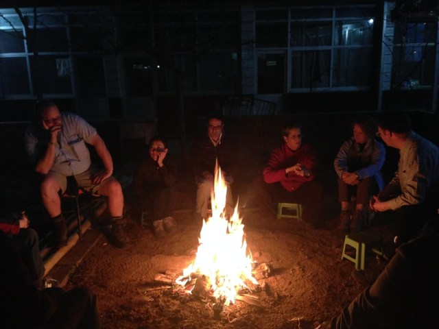 Enjoying the camp fire after dinner...