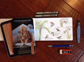 Watercolor Moleskine, Micron Pens, Prismacolor Water Color Pencils, Aquabrushes, and drafting pencils