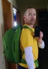 Osprey Porter. Hip belt and shoulder straps with suspension straps. Pretty slick bag.
