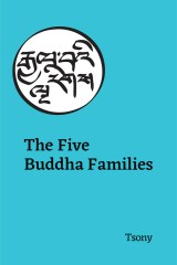 a turquoise background with Tibetan calligraphy and text of book title (The Five Buddha Families, by Tsony)