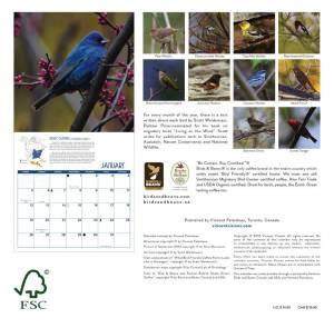 Calendar cack cover