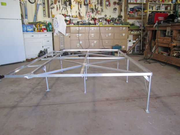 The bed frame made out of aluminum