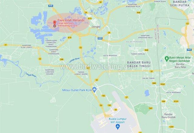 Location of Paya Indah Wetlands