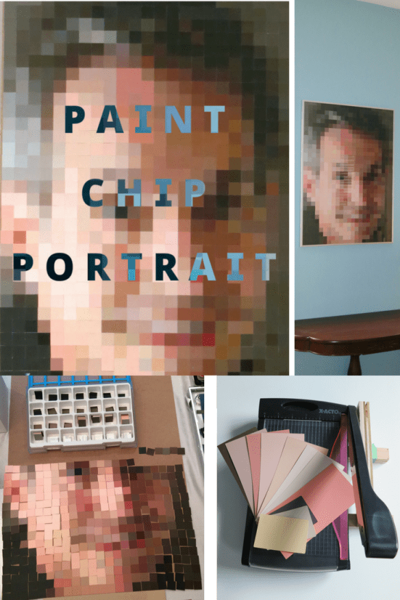 Use up those old paint chips to make a paint chip portrait! Upcycled paint chips | Step by step tutorial on how to make your own paint chip portrait | How to upcycle paint chips | Paint chip crafts | pixelated art | upcycle | wall decor ideas | paint chip art | paint chips | mosaic wall art | DIY wall decor | wall decor | Birdz of a Feather | #DIY #Upcycled #upcycle #upcycling #WallArt #Repurposed #Craft #crafts #BirdzofaFeather.ca