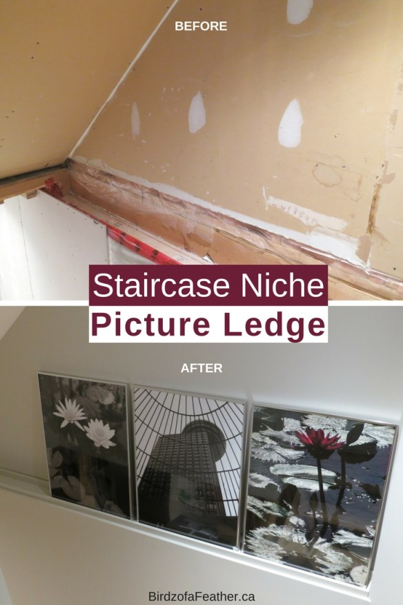 Picture ledge DIY | How to build your own picture ledge | Picture ledge tutorial | # BasementIdeas # BasementMakeover # BasementRemodel #DIY | Birdzofafeather.ca