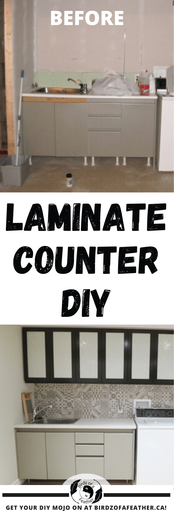Installing a laminate countertop without a backsplash is the final touch in our laundry room! This budget friendly project looks expensive for little $$'s!
