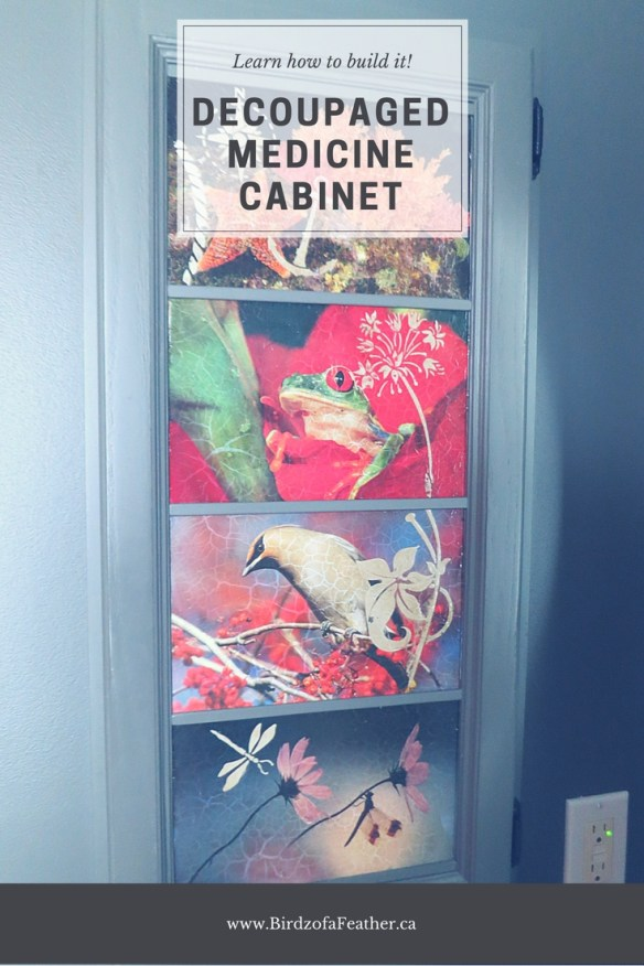 Snazz up a boring medicine cabinet with decoupage! Birdz of a Feather | decoupage | decoupage ideas | medicine cabinet | medicine cabinet makeover | medicine cabinet diy | diy | #medicinecabinet #decoupage #birdzofafeather.ca
