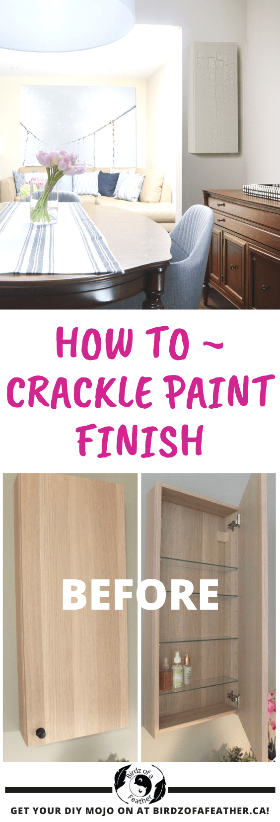 Update an Ikea Godmorgon cabinet with a crackle finish | Ikea hack | crackle paint | crackle painted furniture | medicine cabinet | Ikea | godmorgon | godmorgon hack | faux finish painting | faux finish furniture #crackling #cracklepaint #crackleglaze #ikea #ikeahack