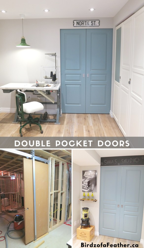 Frame an entryway with DIY double pocket doors. Birdz of a Feather | | pocket doors | pocket doors diy | pocket doors ideas | basement diy ideas | pocket door handles | pocket doors basement | pocket doors diy how to build | K.N. Crowder | #pocketdoors #birdzofafeather #kncrowder #basement #basementdiy #birdzofafeather.ca