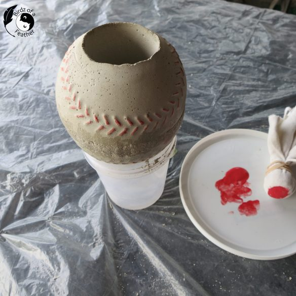 Learn how to make a cement planter that's cast in the shape of a baseball! It's a home run that will satisfy sports fans and plant lovers alike. Birdz of a Feather | cement planter DIY | planter ideas indoors | planter ideas DIY | cement planter ideas | cement planters diy | cement crafts | cement DIY | baseball decor | baseball decor DIY | plant decor | plant decor DIY | planter decorating ideas | planter decor ideas | DIY | #DIYcement #DIYconcrete #DIYconcreteCrafts #DIYcementCrafts #cementCrafts #concreteCrafts #cementTips #diyPlanters