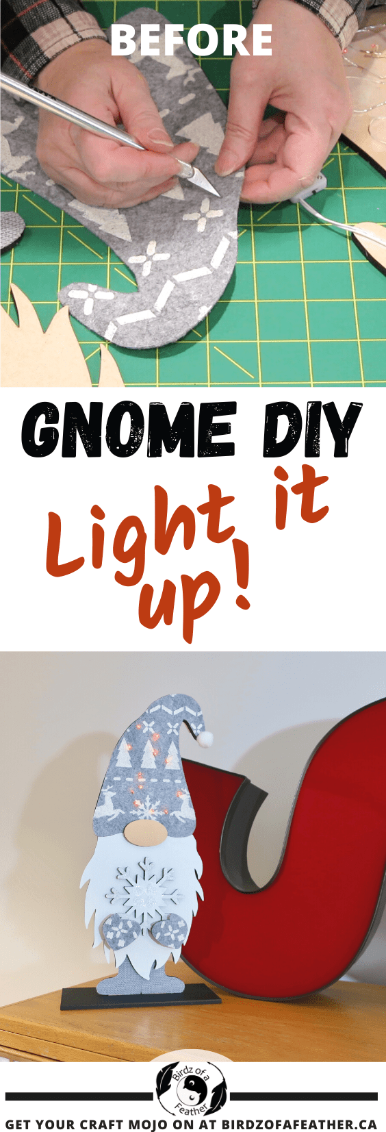 Every time I see a gnome, I tell myself I have to get around to making one! Dress up your Christmas decor with this gnome DIY; it lights up! Birdz of a Feather | DIY gnome ideas | Easy DIY Christmas gnome tutorial | DIY Christmas Gnomes | how to make a large gnome | Christmas gnome | christmas gnome diy | christmas gnome decoration | christmas gnome decor | how to make a Christmas gnome | gnomes DIY how to make | gnomes crafts | gnomes tutorial | gnome hat | gnome kits | kim and garrett make it
