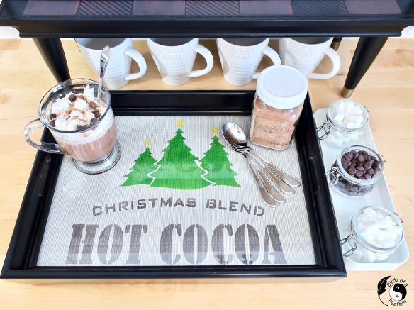 We're finally ready for the reveal of our hot chocolate station with this final project - the Hot Cocoa Bar Sign! We're going to light it up! Birdz of a Feather | hot cocoa bar decor | hot cocoa station | hot cocoa stations ideas | hot cocoa station sign | hot cocoa mugs | hot chocolate | hot cocoa bar ideas | hot cocoa bar accessories | hot cocoa bar | ideas for a hot cocoa bar | hot cocoa bar toppings | hot cocoa signs | lighted sign box | lighted sign | old sign stencils | neon sign