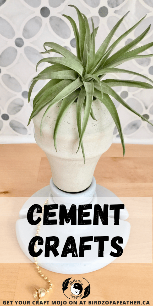 Pinable pin showing cement crafts, cement planter molds, air planter display