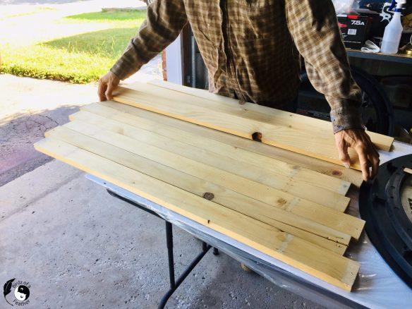 Broken down pallet wood used for Wooden Wall Art DIY