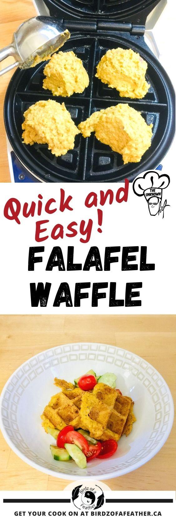 Pinnable image for falafel waffles