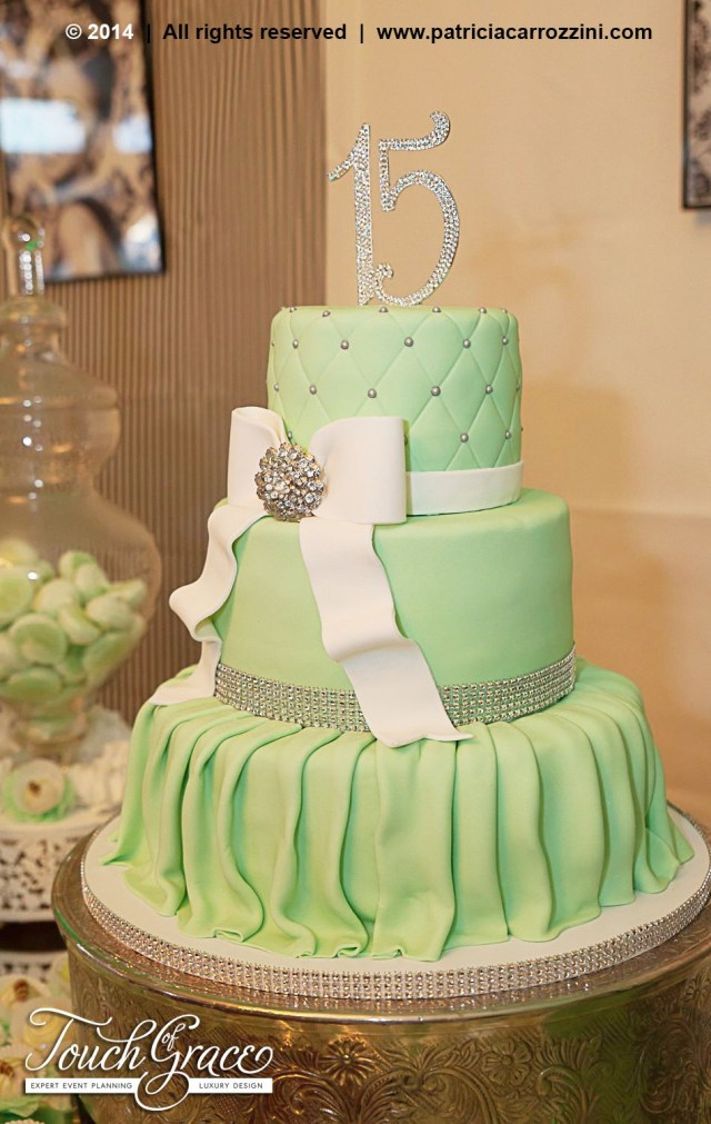 15 Birthday Cake Tiffany Theme Sweet 15 Candy Buffet Mint Green Birthday Cake
