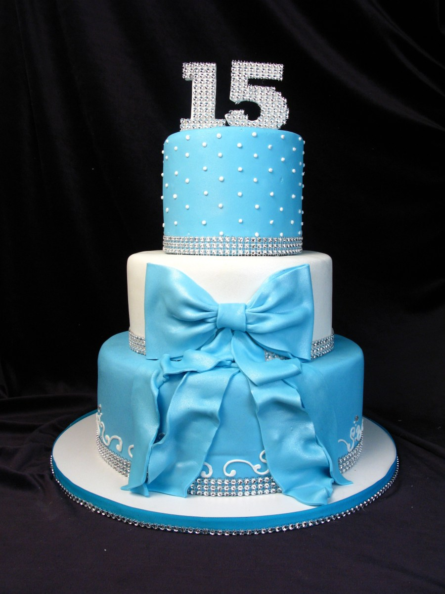 Amazing 15 Birthday Cakes Quinceanera Cake 15Th Birthday Blue Tiffany Blue Funny Birthday Cards Online Alyptdamsfinfo