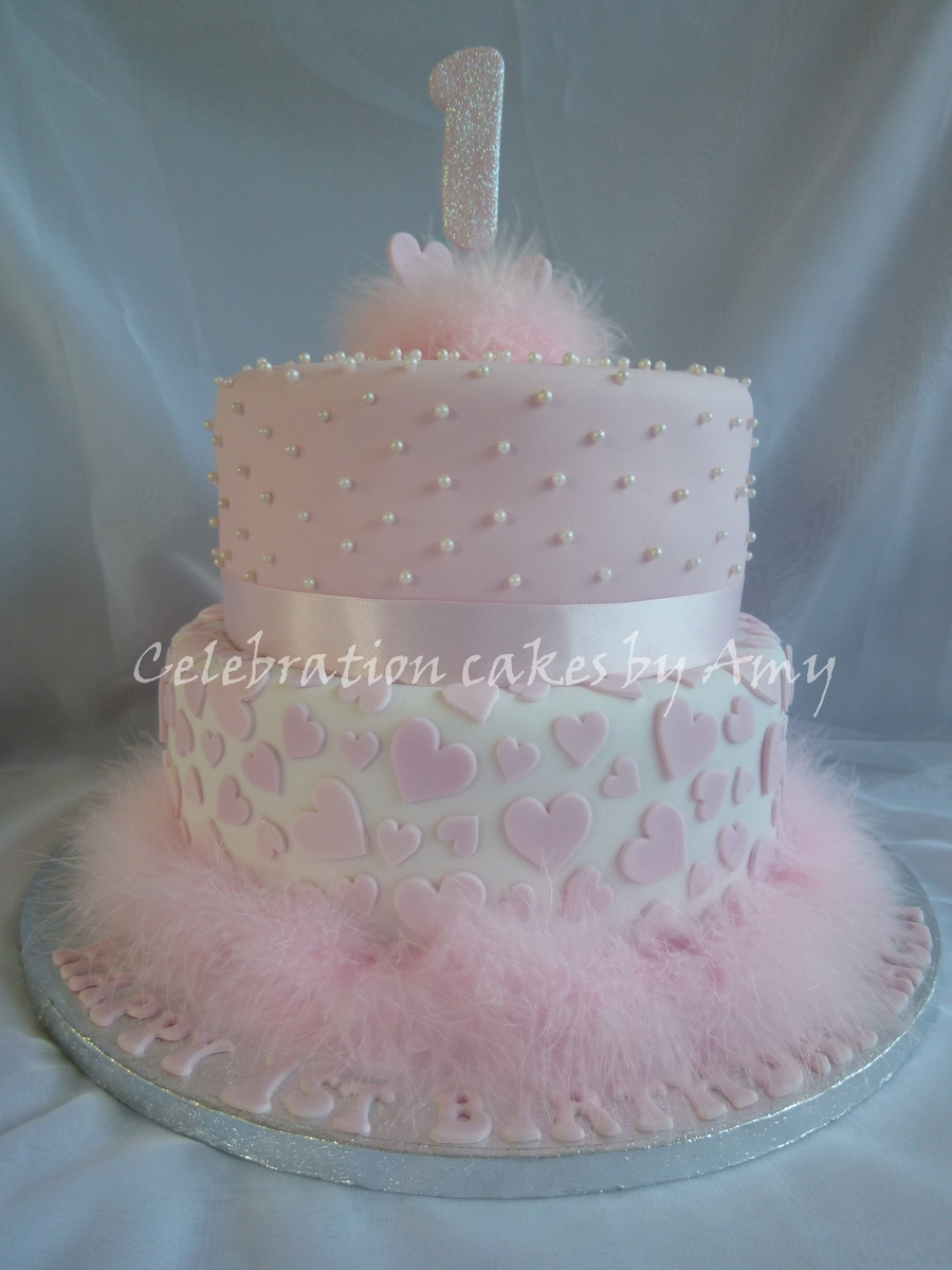 Outstanding 1St Birthday Cake Girl 8 Elegant Girls First Birthday Cakes Photo Personalised Birthday Cards Veneteletsinfo