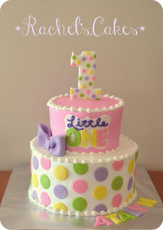 1St Birthday Cake Girl Polka Dot 1st Torturi Simple Si Dragute Pinterest