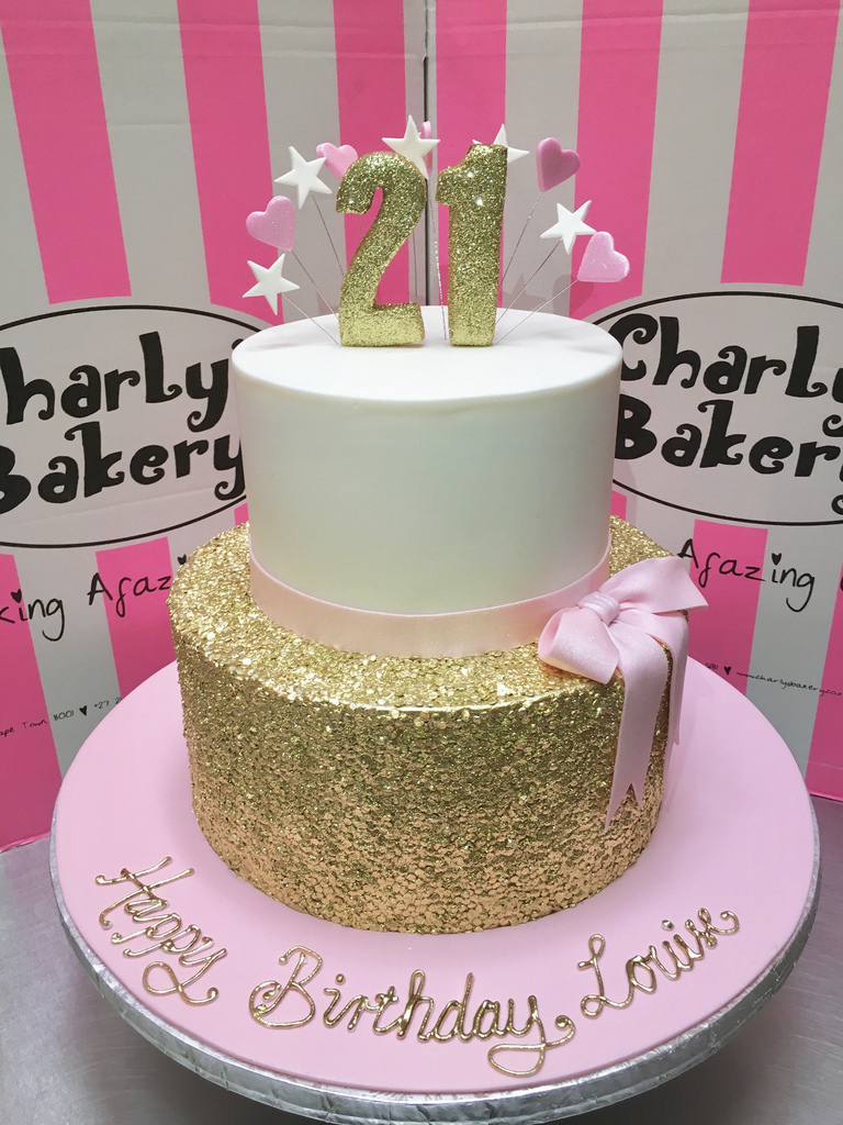 Pleasing 2 Tier Birthday Cakes 2 Tier 21St Birthday Cake With Gold Sequins Personalised Birthday Cards Paralily Jamesorg