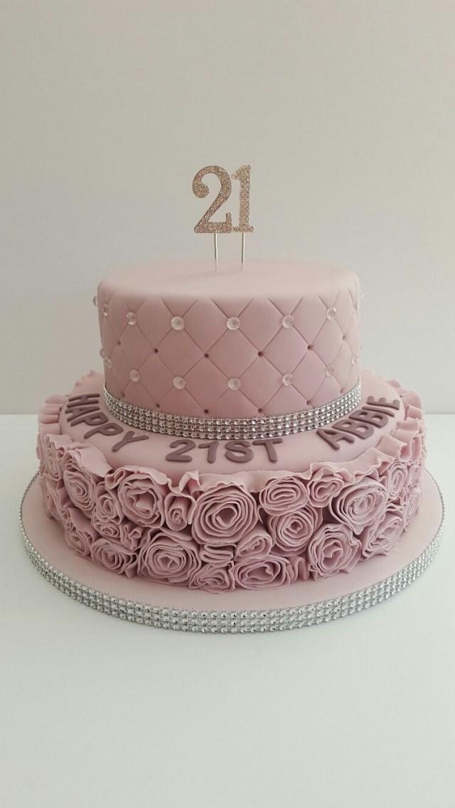 21St Birthday Cake Glamorous Dusky Pink 21st Birthday Cake21 Covered In Fondant