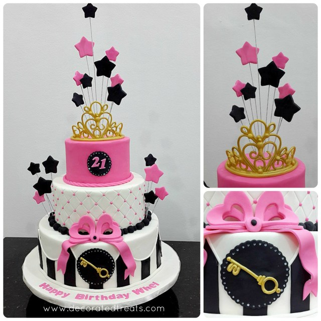 21St Birthday Cake Pink Starry 21st Birthday Cake
