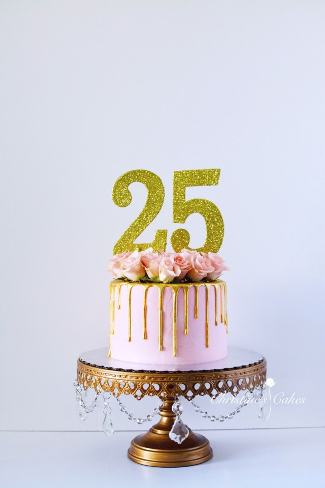 25Th Birthday Cakes 25th Birthday Birthday Cake Pink Spray Roses Floral Cake Gold