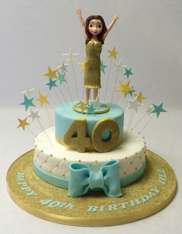 40Th Birthday Cakes 2 Tier 40th Birthday Cake With Model Girls Birthday Cakes