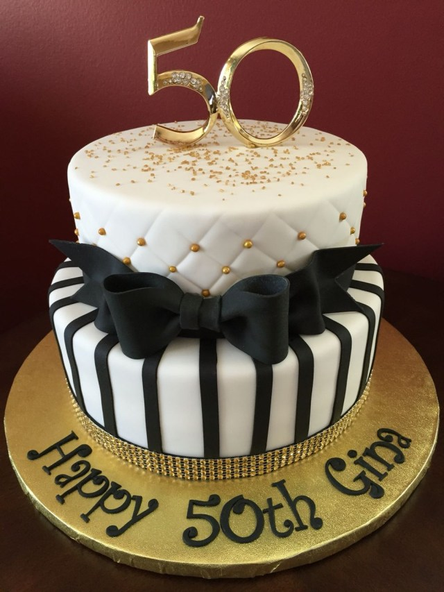 50 Birthday Cakes Black And Gold 50th Cake Pinterest
