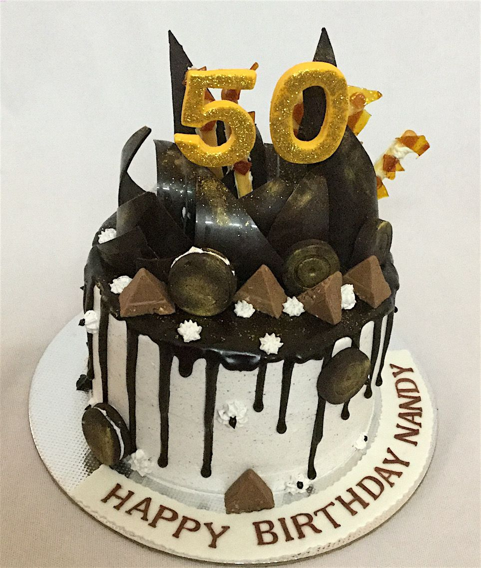 Awe Inspiring 50Th Birthday Cake Online Customized Cakes Delivery I Bangalore L Funny Birthday Cards Online Hendilapandamsfinfo