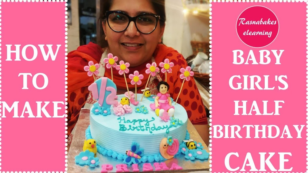 6 Month Birthday Cake Ba Girl In Cute Clothes Half Birthday Cake Design6 Months Ba