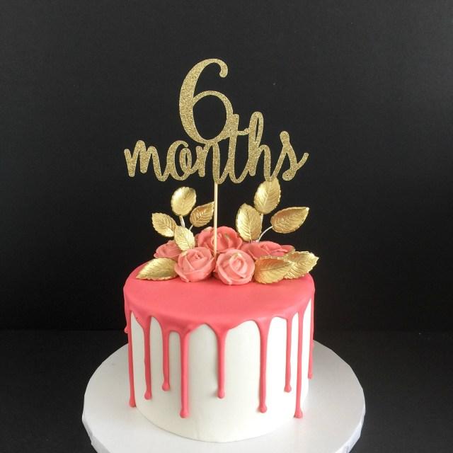 6 Month Birthday Cake Gold Glitter 6 Months Birthday Cake Topper Half Birthday Cake Etsy