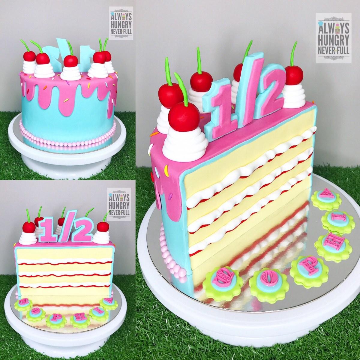 6 Month Birthday Cake Half Cake For 6th Month Birthday Bebe Pinterest Half Birthday