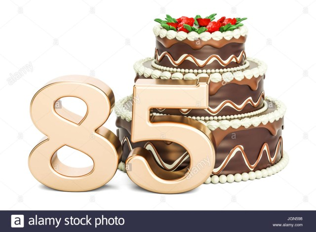 85Th Birthday Cake Chocolate Birthday Cake With Golden Number 85 3d Rendering Isolated