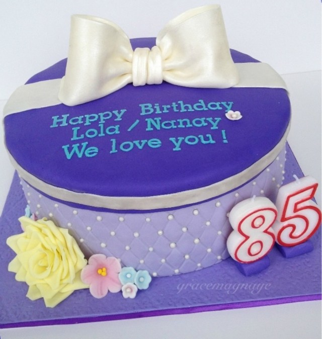 85Th Birthday Cake Quilted Lavender Gift Box Cake For A Wonderful Grandma Who