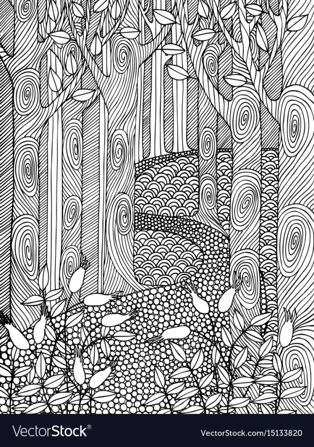 Adult Coloring Book Pages Adult Coloring Book Page Design With Forest Trees Vector Image