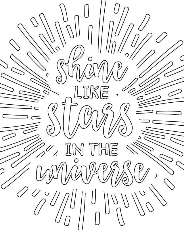 Adult Coloring Book Pages Coloring Pages For Adults Shine Like Stars In The Universe Free