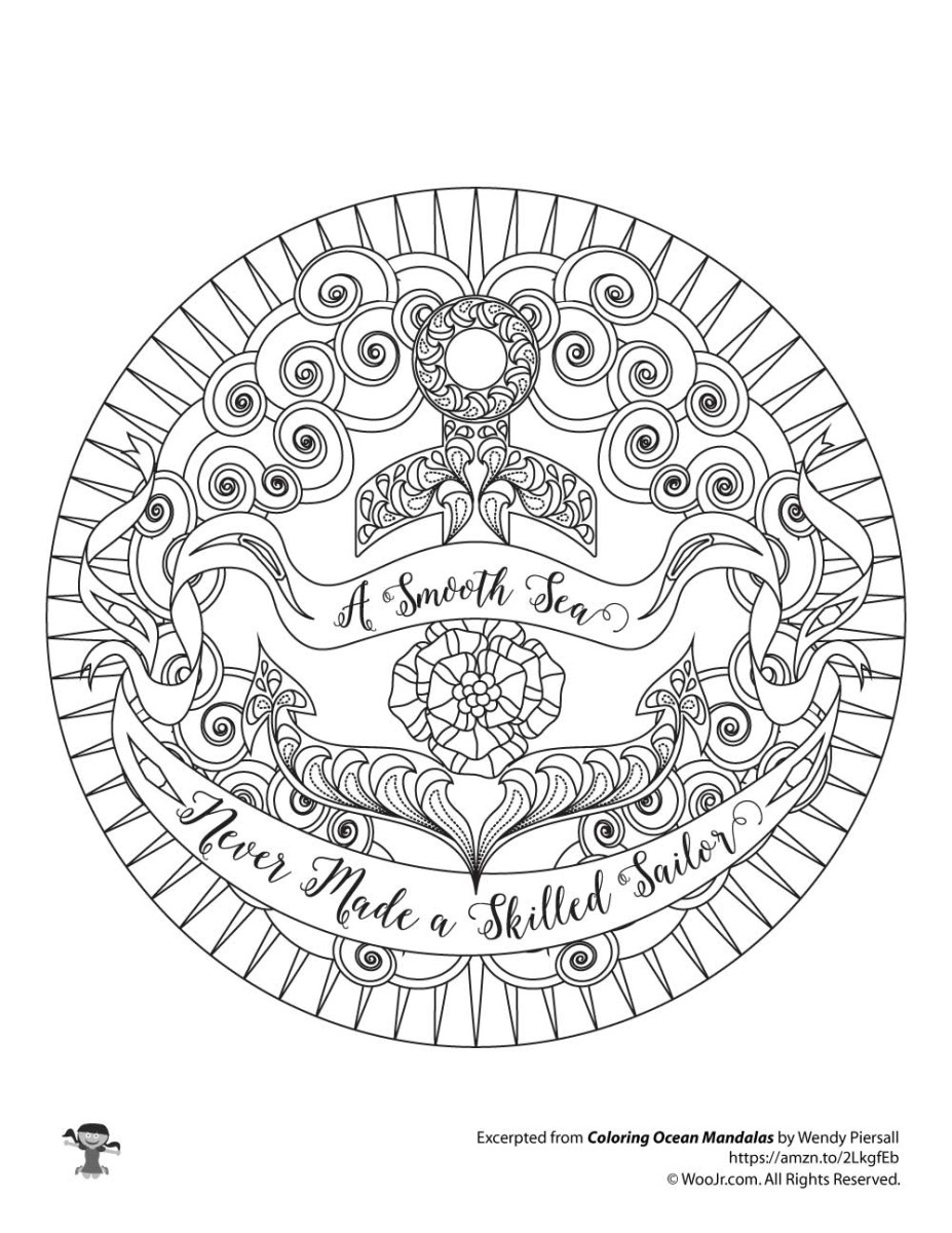 Anchor Coloring Page Nautical Anchor Empowering Quote Adult ...