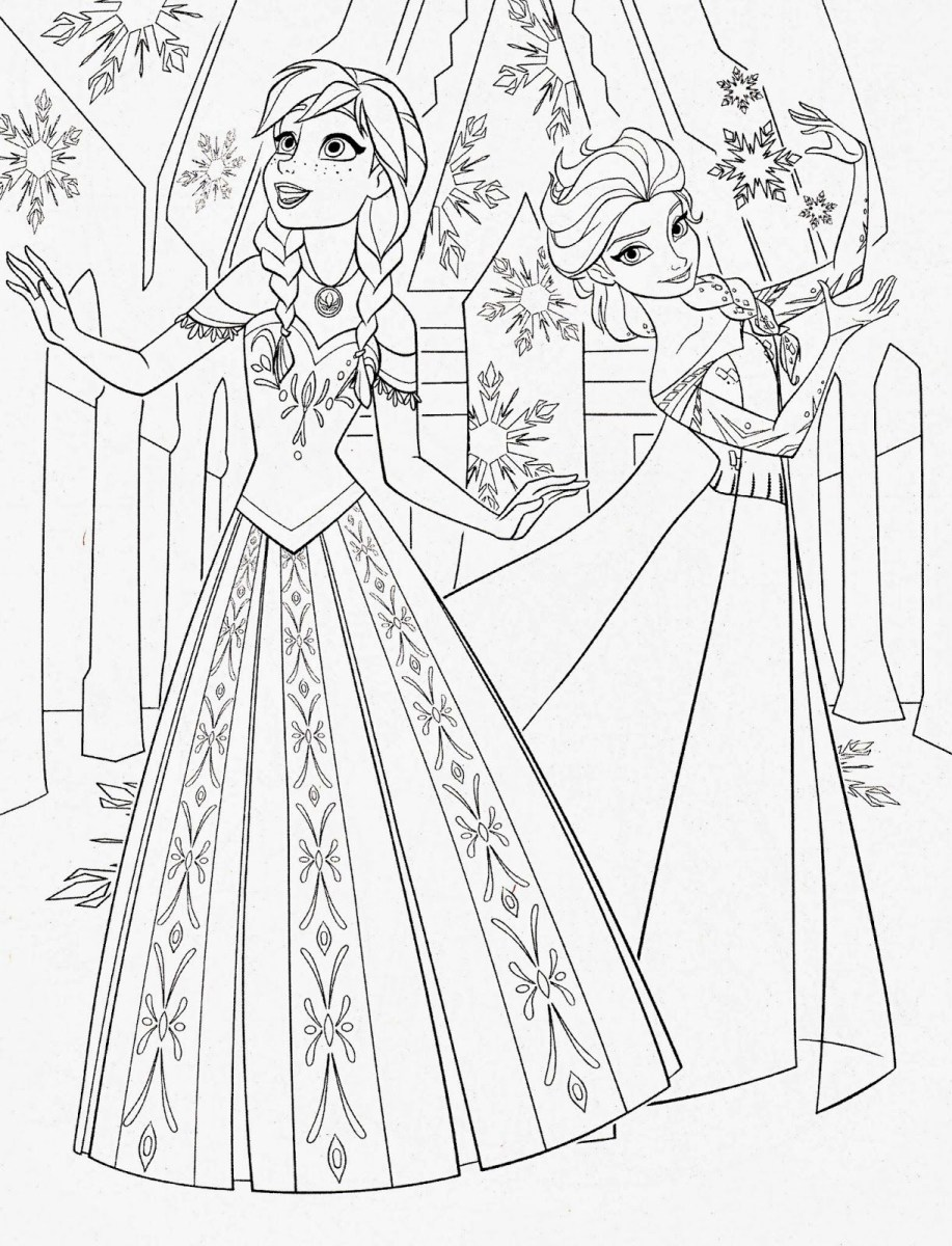 Anna And Elsa Coloring Pages Disney Princess Coloring Pages