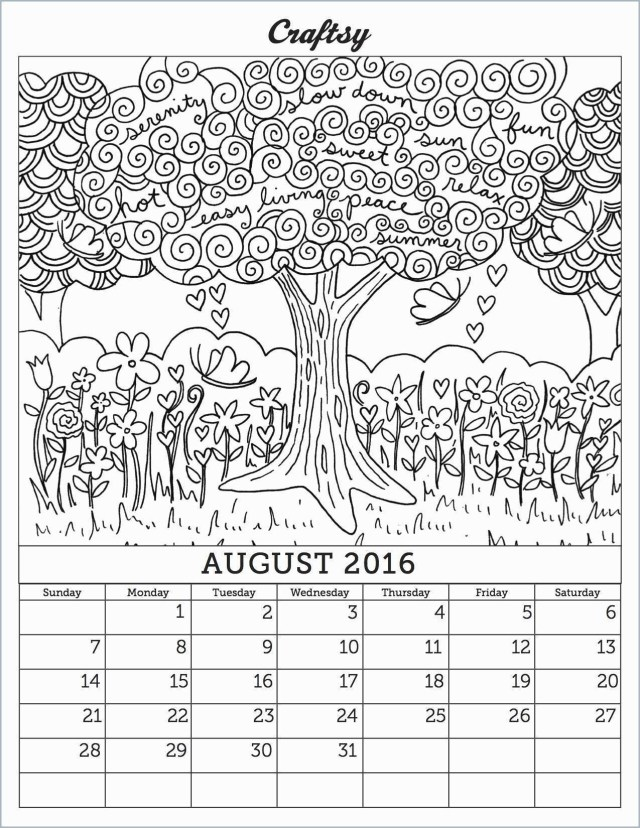 August Coloring Pages Calendar Coloring Pages Luxury August 2016 Calendar Coloring Page