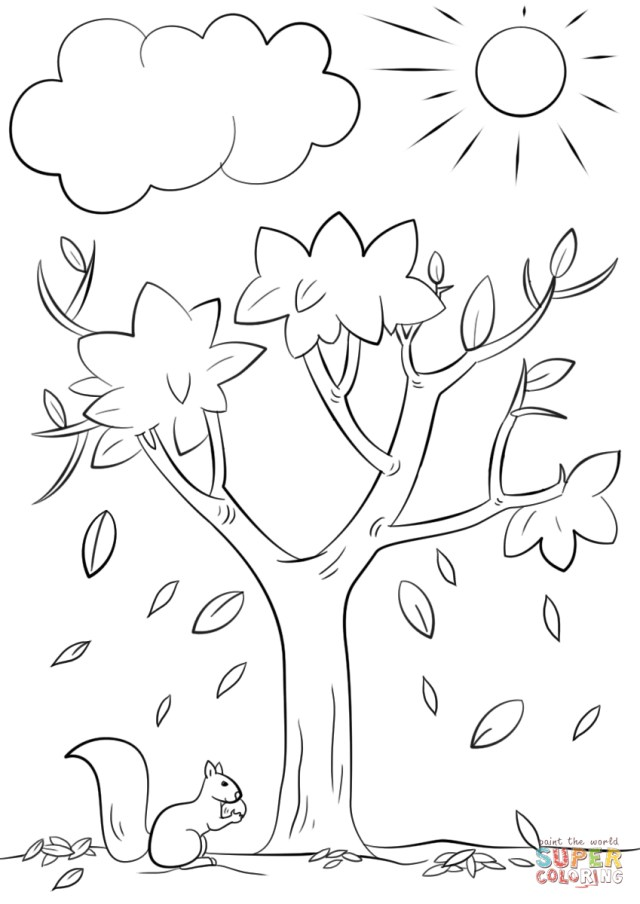 Autumn Coloring Pages Autumn Tree Coloring Page Free Printable Coloring Pages