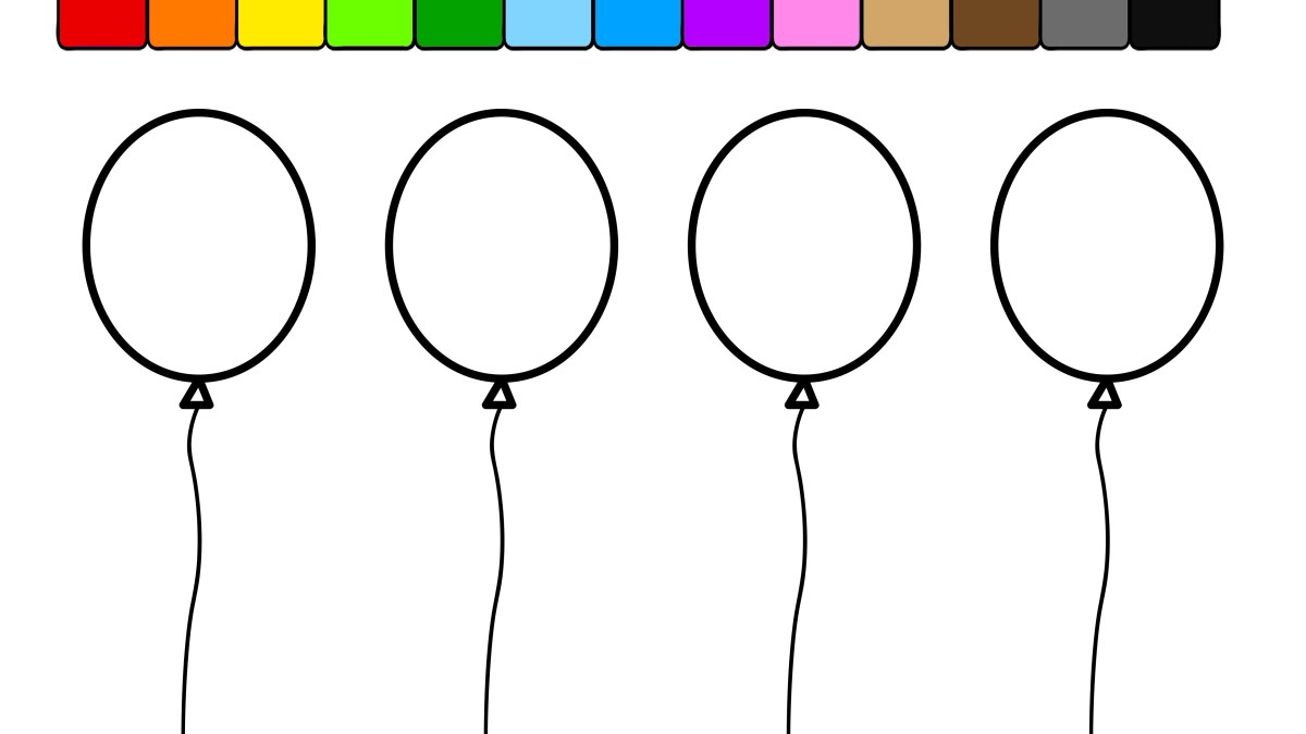 Balloon Coloring Pages Balloons Coloring Pages Learn Colors For Kids And Color This Balloon